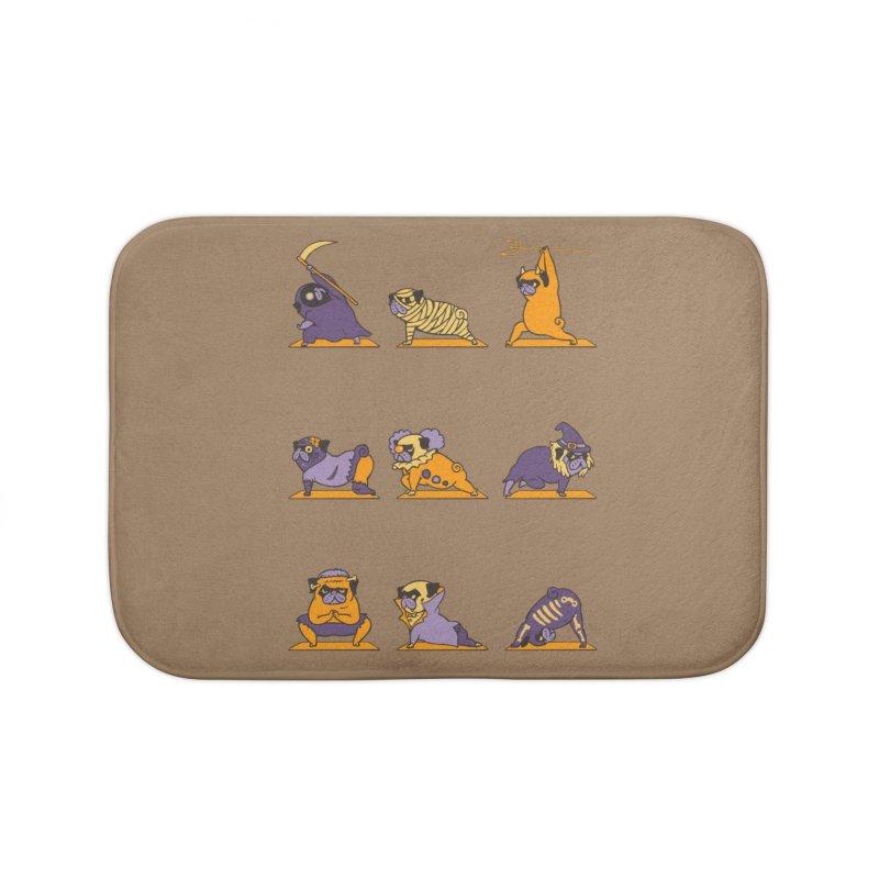 Pug Yoga Halloween Monsters Home Bath Mat by huebucket's Artist Shop