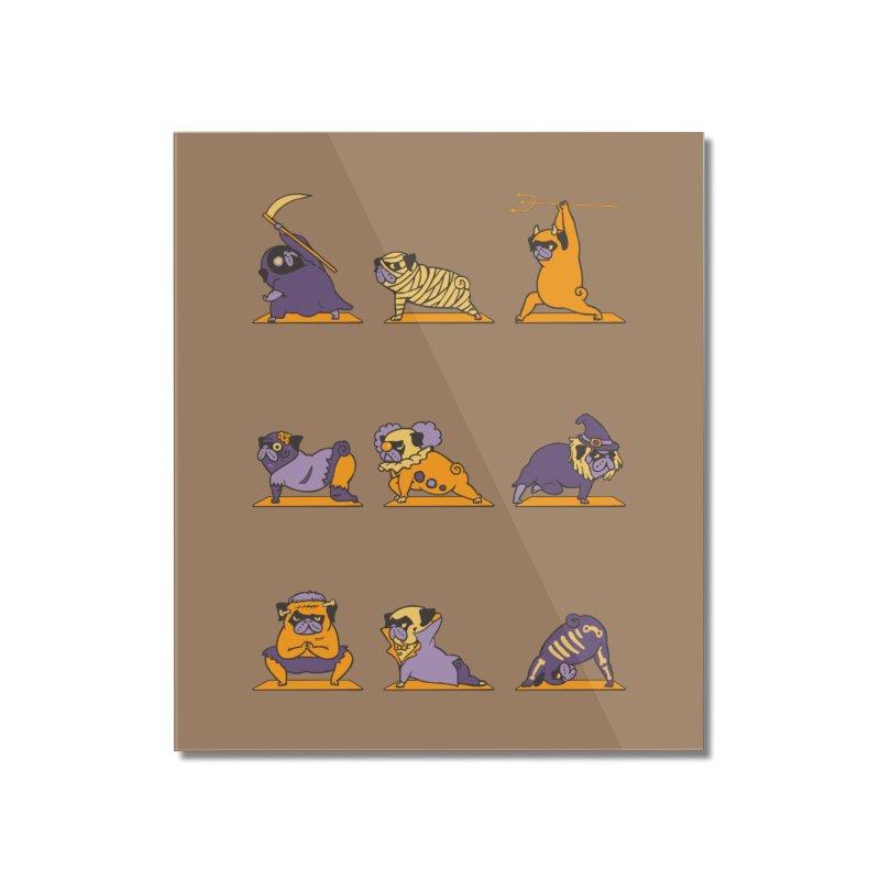 Pug Yoga Halloween Monsters Home Mounted Acrylic Print by huebucket's Artist Shop