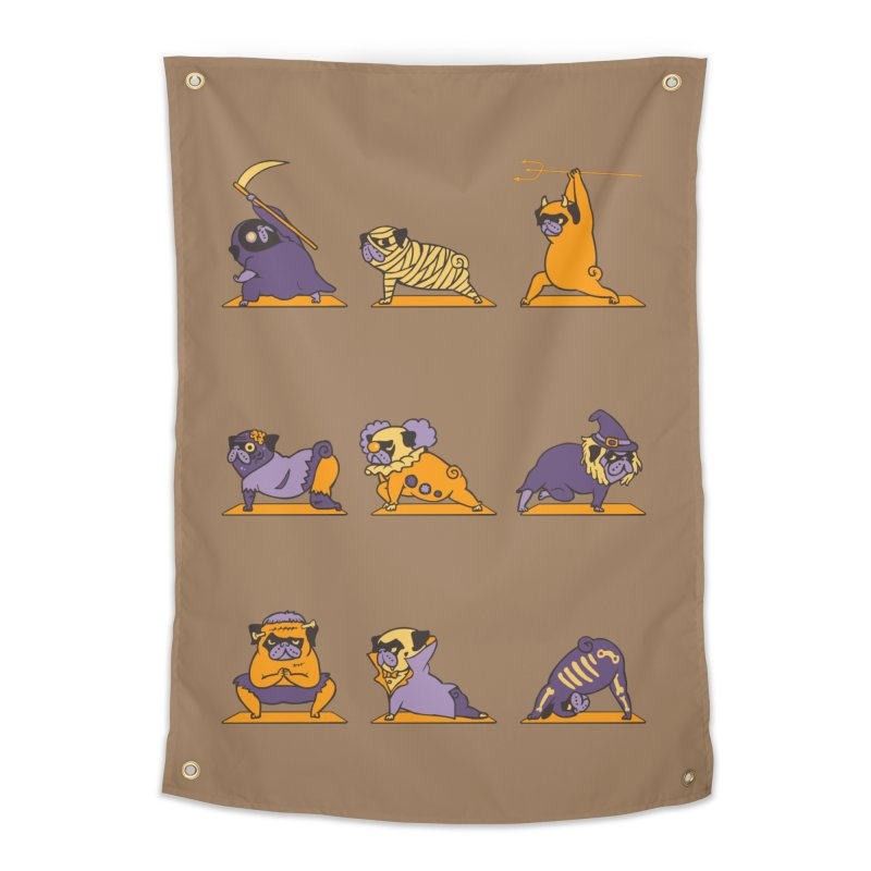Pug Yoga Halloween Monsters Home Tapestry by huebucket's Artist Shop