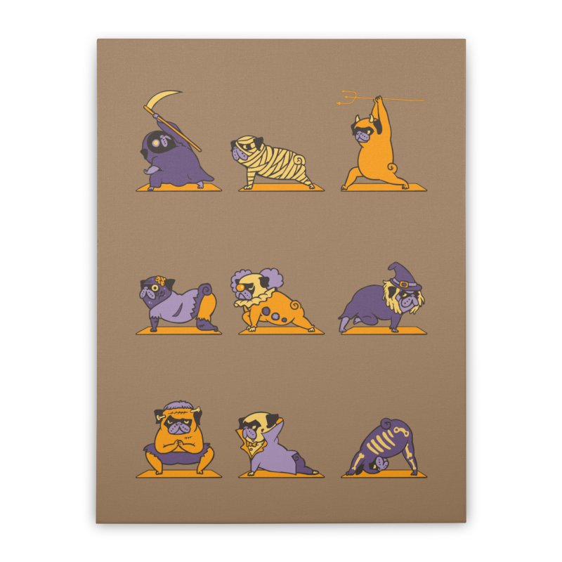 Pug Yoga Halloween Monsters Home Stretched Canvas by huebucket's Artist Shop