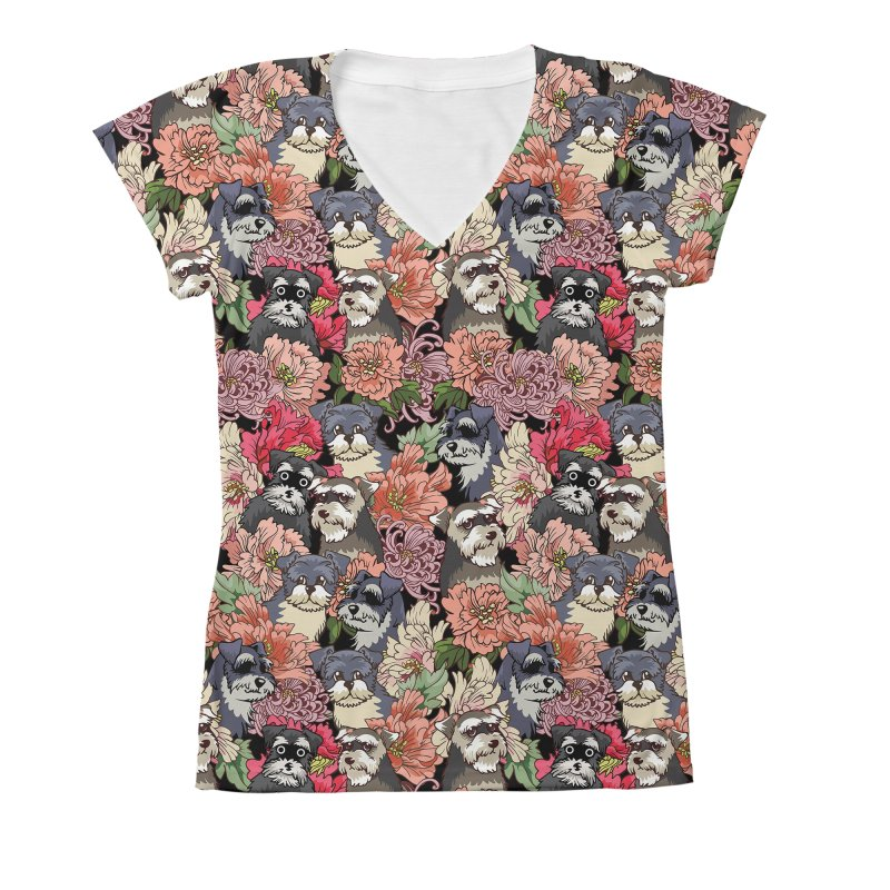 BECAUSE SCHNAUZERS Women's V-Neck All Over Print by huebucket's Artist Shop