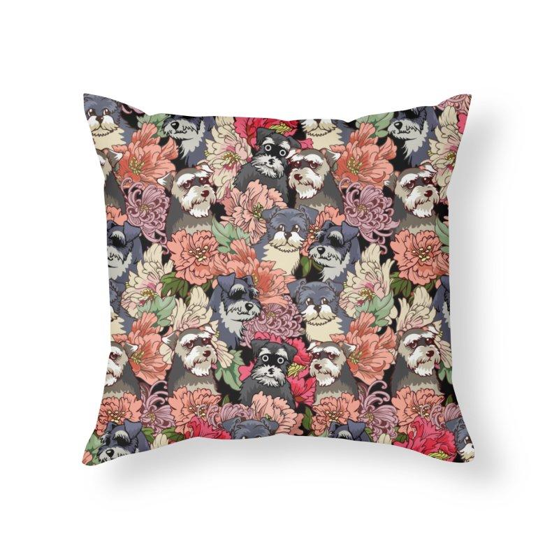 BECAUSE SCHNAUZERS Home Throw Pillow by huebucket's Artist Shop