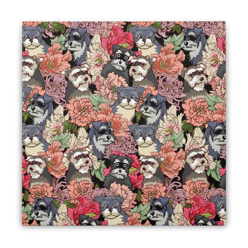 BECAUSE SCHNAUZERS Home Stretched Canvas by huebucket's Artist Shop