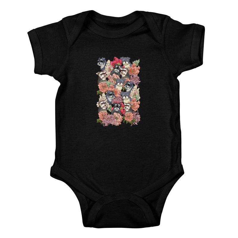 BECAUSE SCHNAUZERS Kids Baby Bodysuit by huebucket's Artist Shop