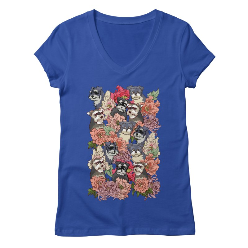 BECAUSE SCHNAUZERS Women's V-Neck by huebucket's Artist Shop