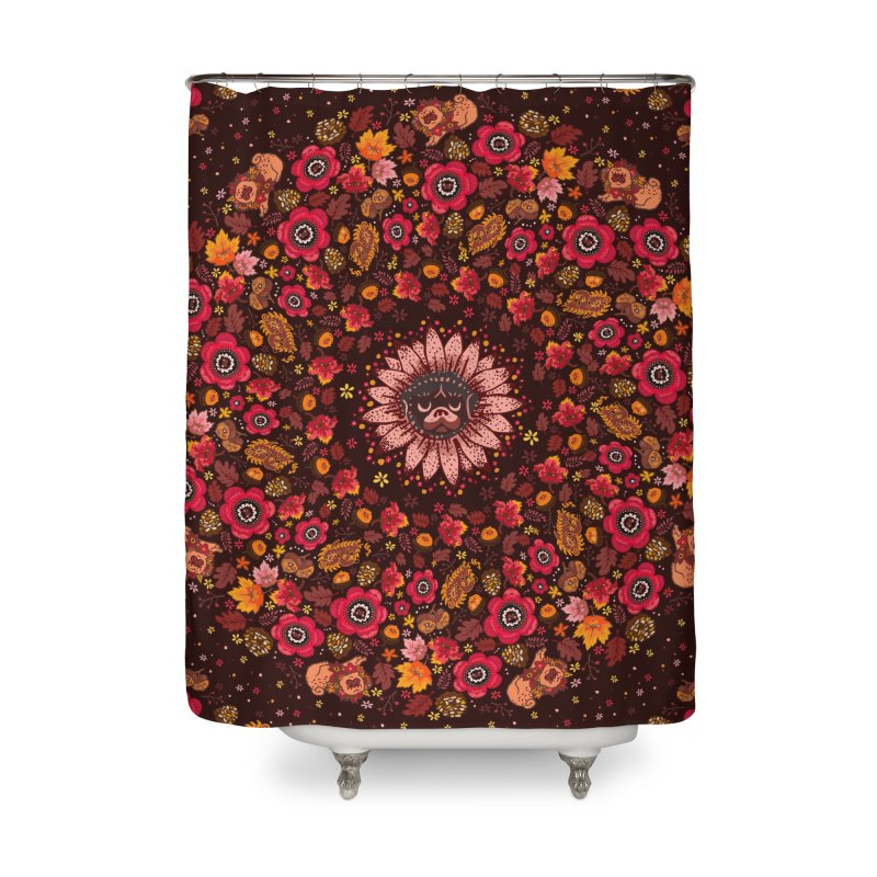 FALL PUG MEDALLION Home Shower Curtain by huebucket's Artist Shop