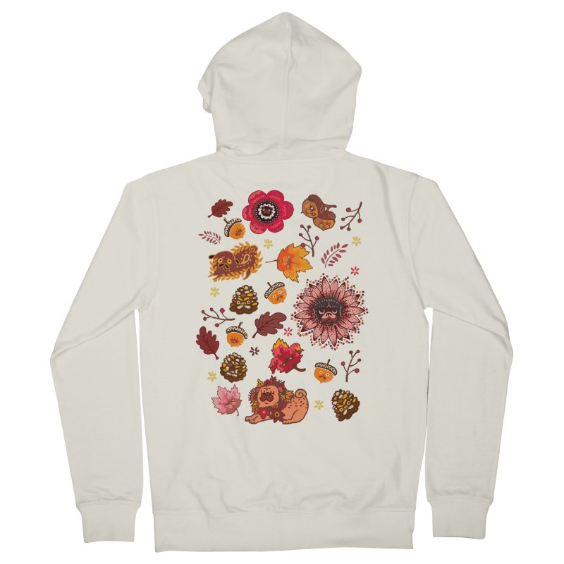 FALL PUG MEDALLION Women's Zip-Up Hoody by huebucket's Artist Shop