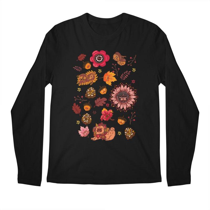 FALL PUG MEDALLION Men's Longsleeve T-Shirt by huebucket's Artist Shop