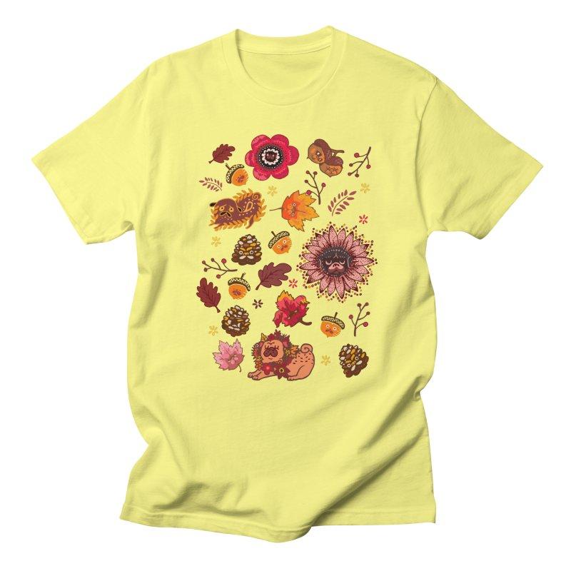 FALL PUG MEDALLION Women's Unisex T-Shirt by huebucket's Artist Shop