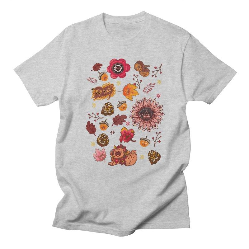 FALL PUG MEDALLION Men's T-shirt by huebucket's Artist Shop