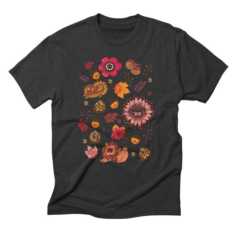 FALL PUG MEDALLION Men's Triblend T-Shirt by huebucket's Artist Shop