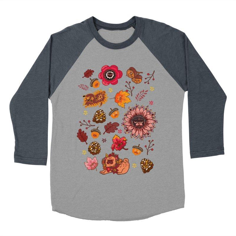 FALL PUG MEDALLION Women's Baseball Triblend T-Shirt by huebucket's Artist Shop