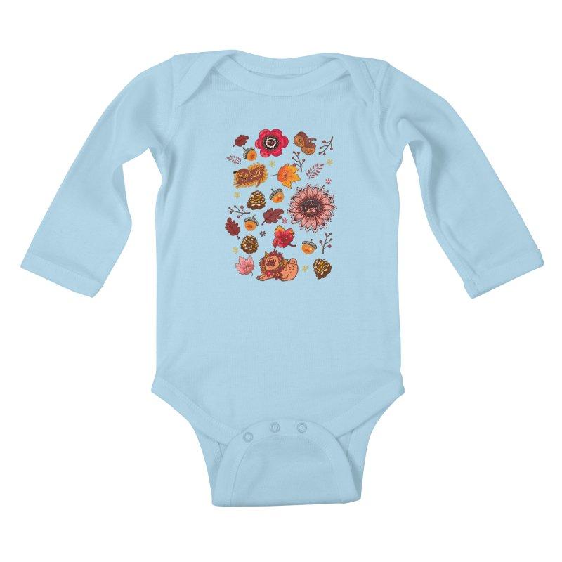 FALL PUG MEDALLION Kids Baby Longsleeve Bodysuit by huebucket's Artist Shop