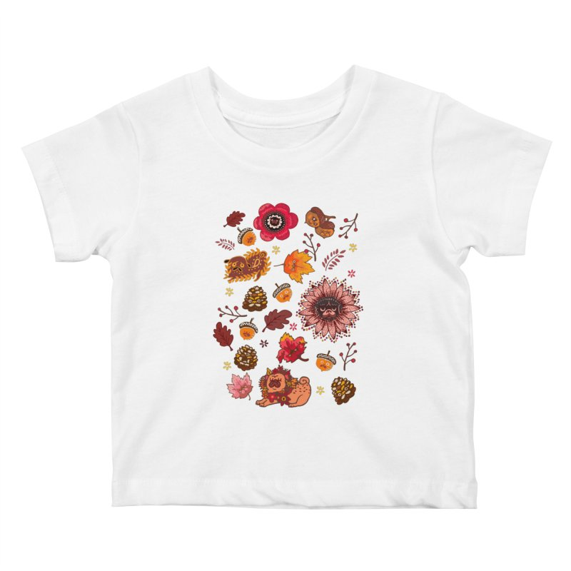 FALL PUG MEDALLION Kids Baby T-Shirt by huebucket's Artist Shop