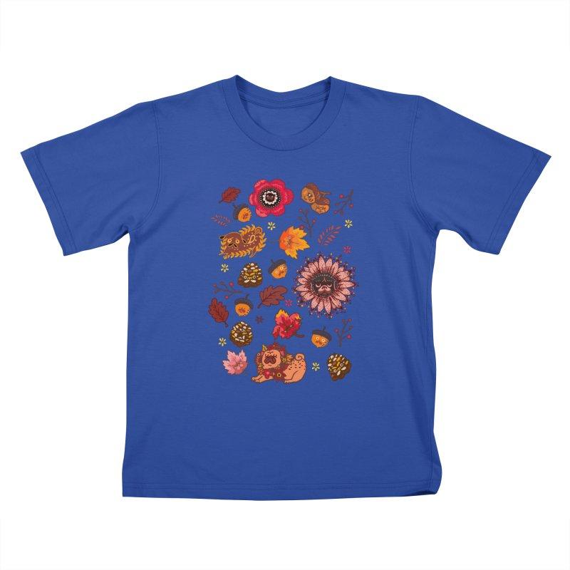 FALL PUG MEDALLION Kids T-Shirt by huebucket's Artist Shop