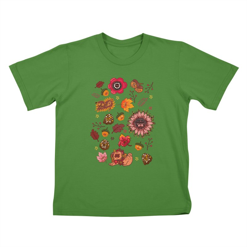 FALL PUG MEDALLION Kids T-shirt by huebucket's Artist Shop