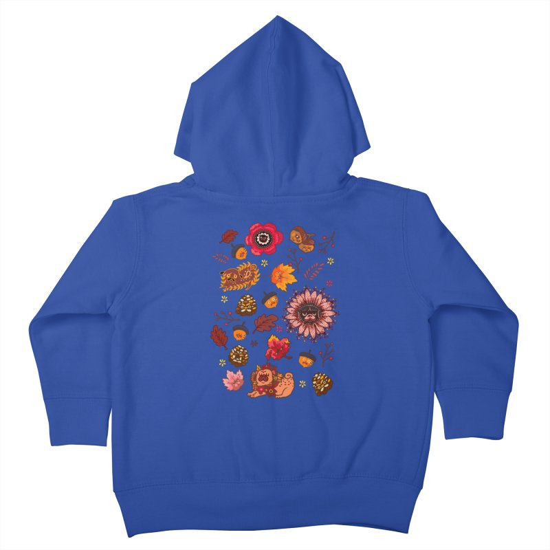 FALL PUG MEDALLION Kids Toddler Zip-Up Hoody by huebucket's Artist Shop