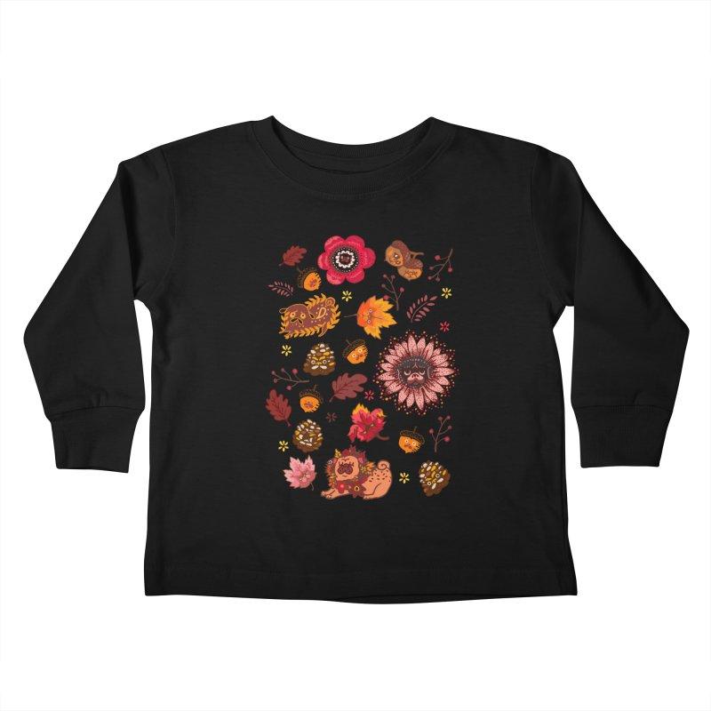 FALL PUG MEDALLION Kids Toddler Longsleeve T-Shirt by huebucket's Artist Shop