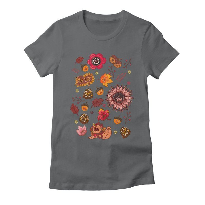 FALL PUG MEDALLION Women's Fitted T-Shirt by huebucket's Artist Shop