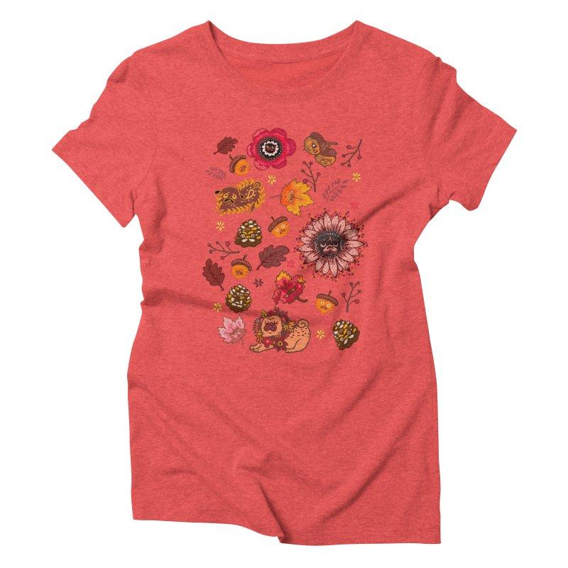 FALL PUG MEDALLION Women's Triblend T-Shirt by huebucket's Artist Shop