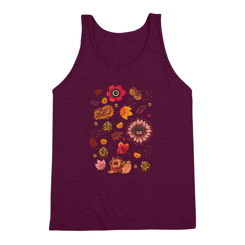 FALL PUG MEDALLION Men's Triblend Tank by huebucket's Artist Shop