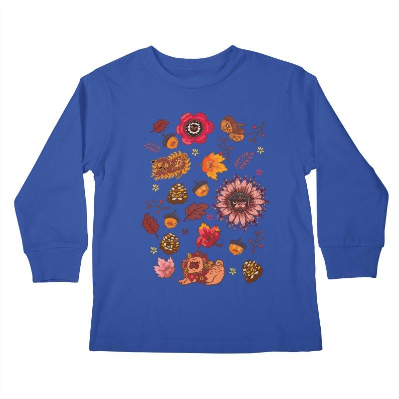 FALL PUG MEDALLION Kids Longsleeve T-Shirt by huebucket's Artist Shop