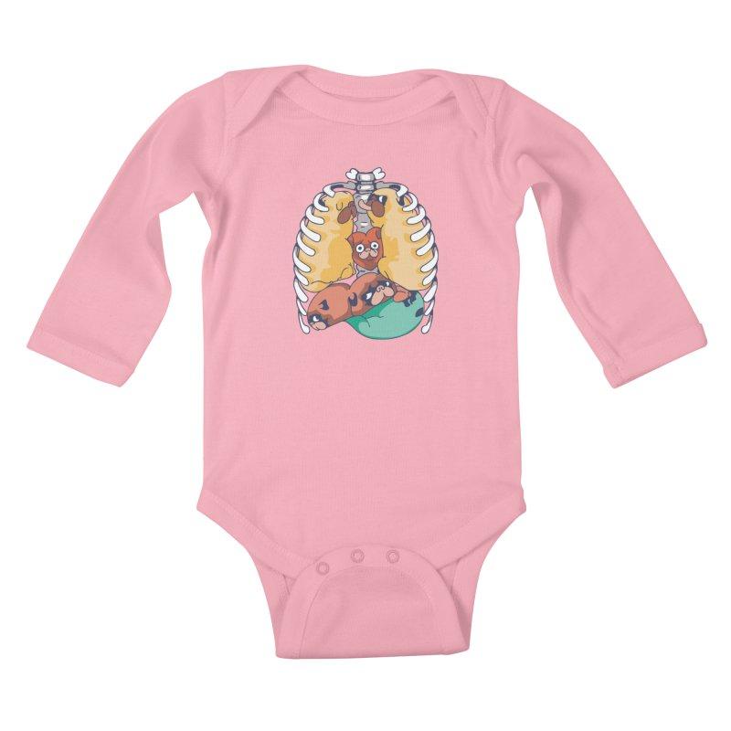 ANATOPUG Kids Baby Longsleeve Bodysuit by huebucket's Artist Shop