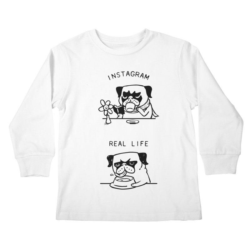 Instagram vs Real Life Kids Longsleeve T-Shirt by huebucket's Artist Shop