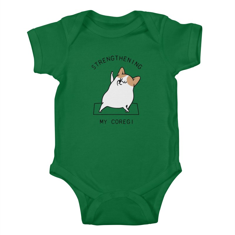 Strengthening My Coregi Kids Baby Bodysuit by huebucket's Artist Shop