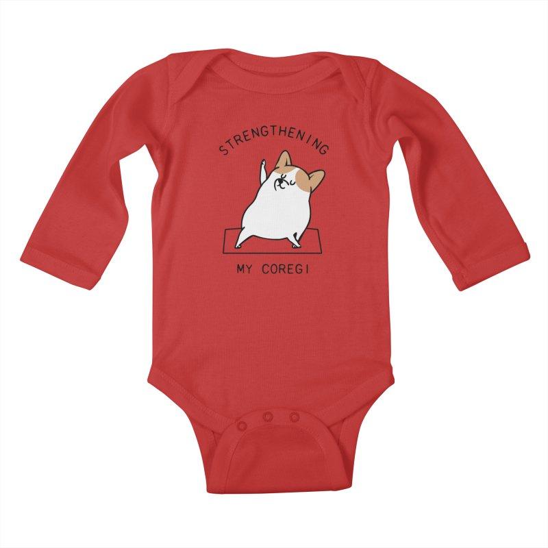 Strengthening My Coregi Kids Baby Longsleeve Bodysuit by huebucket's Artist Shop
