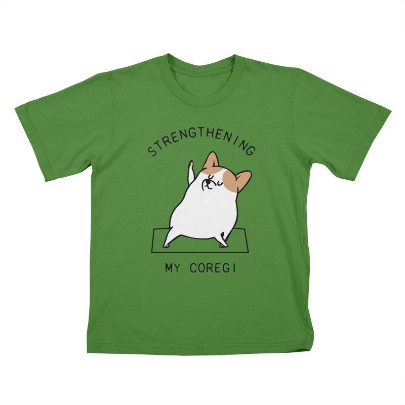 Strengthening My Coregi Kids T-Shirt by huebucket's Artist Shop