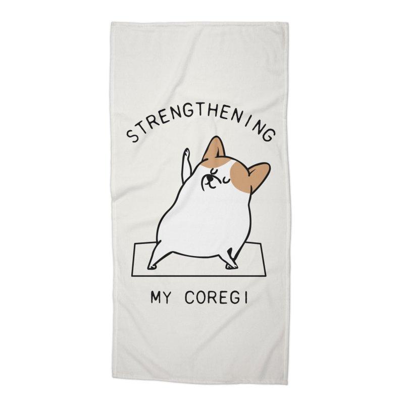 Strengthening My Coregi Accessories Beach Towel by huebucket's Artist Shop