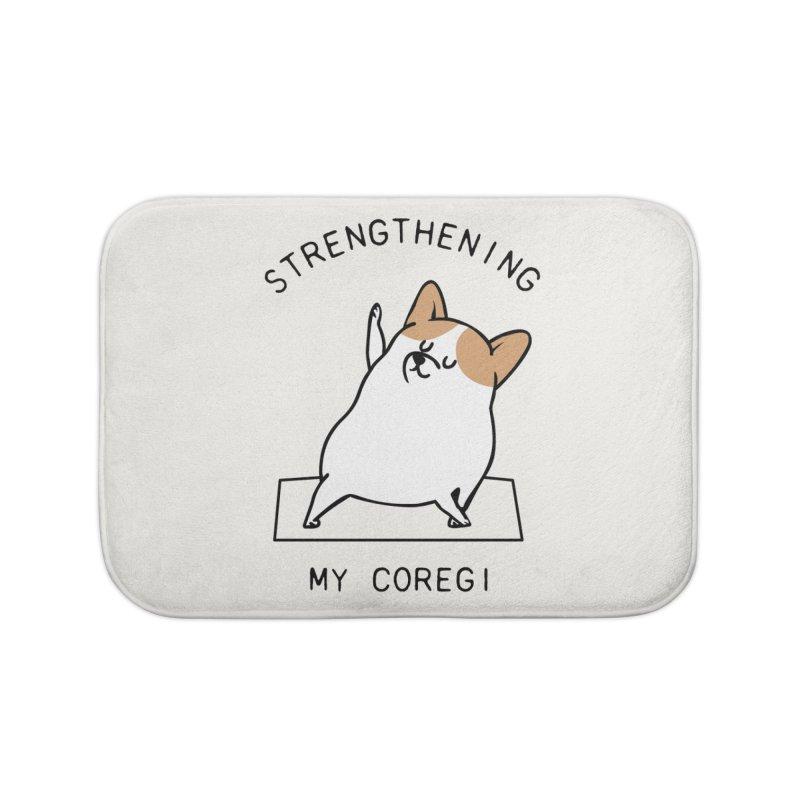 Strengthening My Coregi Home Bath Mat by huebucket's Artist Shop