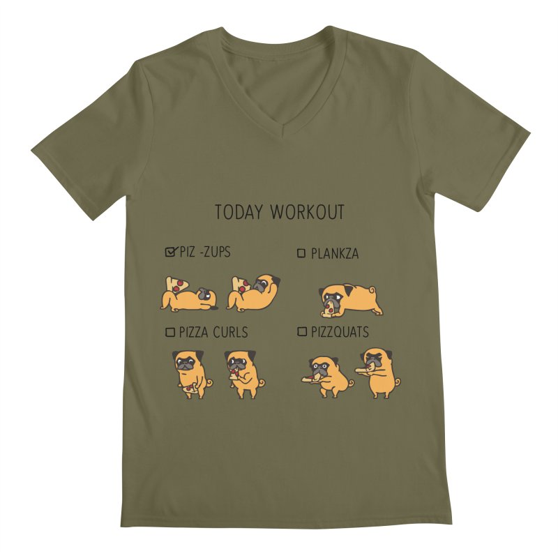 Today Workout with the pug Men's V-Neck by huebucket's Artist Shop