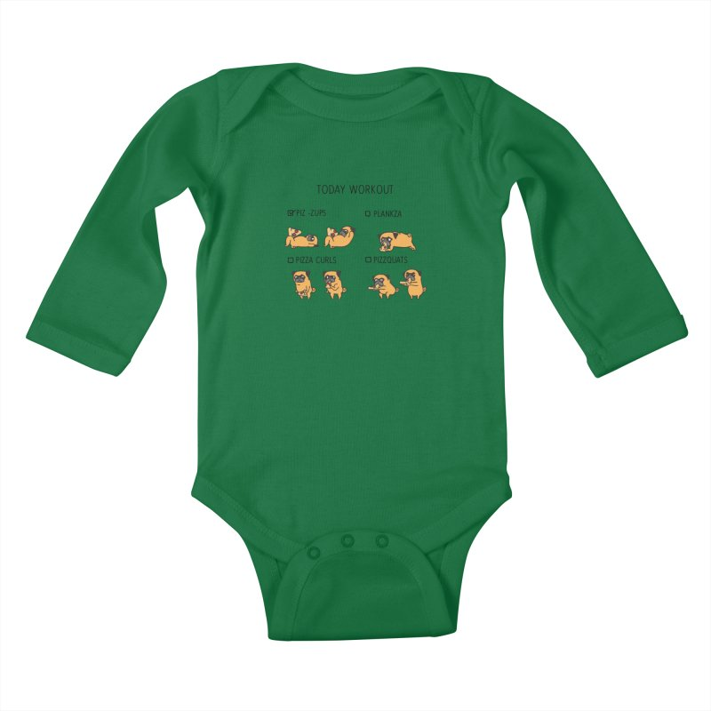 Today Workout with the pug Kids Baby Longsleeve Bodysuit by huebucket's Artist Shop