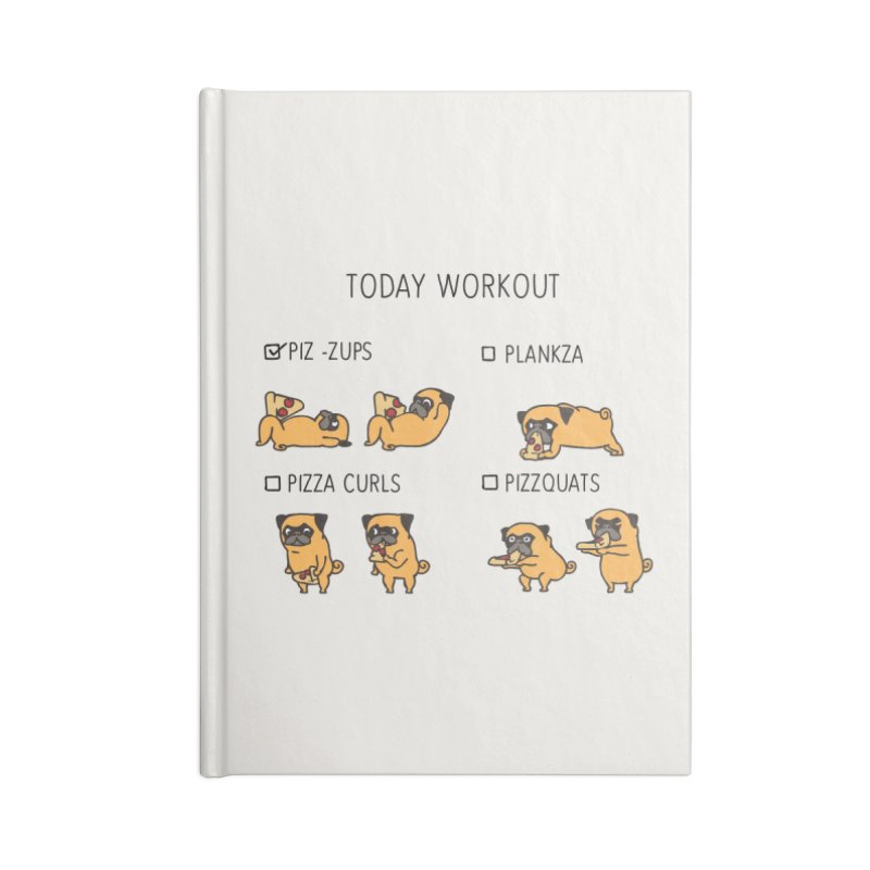 Today Workout with the pug Accessories Notebook by huebucket's Artist Shop