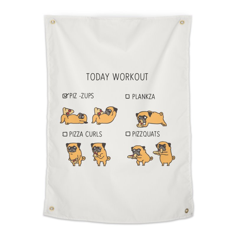 Today Workout with the pug Home Tapestry by huebucket's Artist Shop