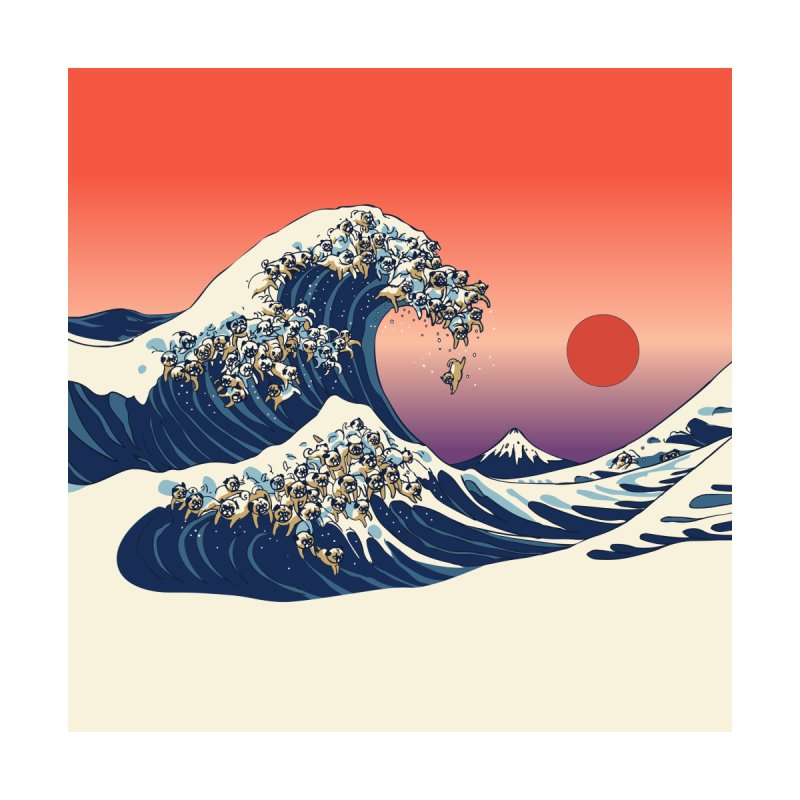 The Great Wave of Pugs by huebucket's Artist Shop
