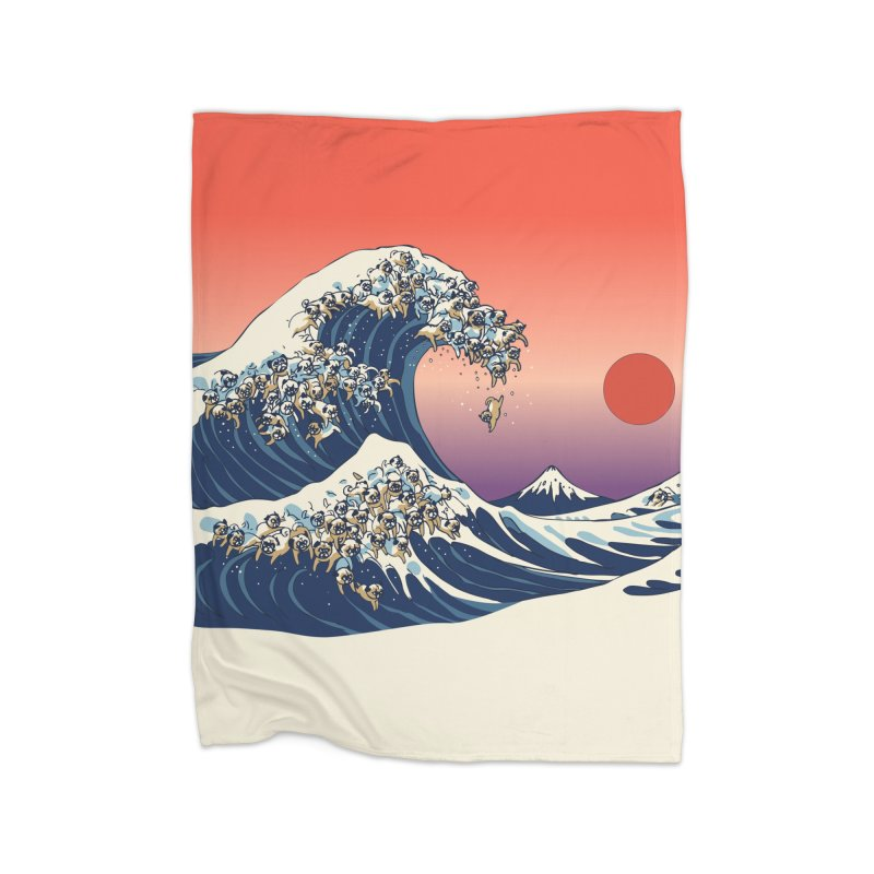 The Great Wave of Pugs Home Blanket by huebucket's Artist Shop