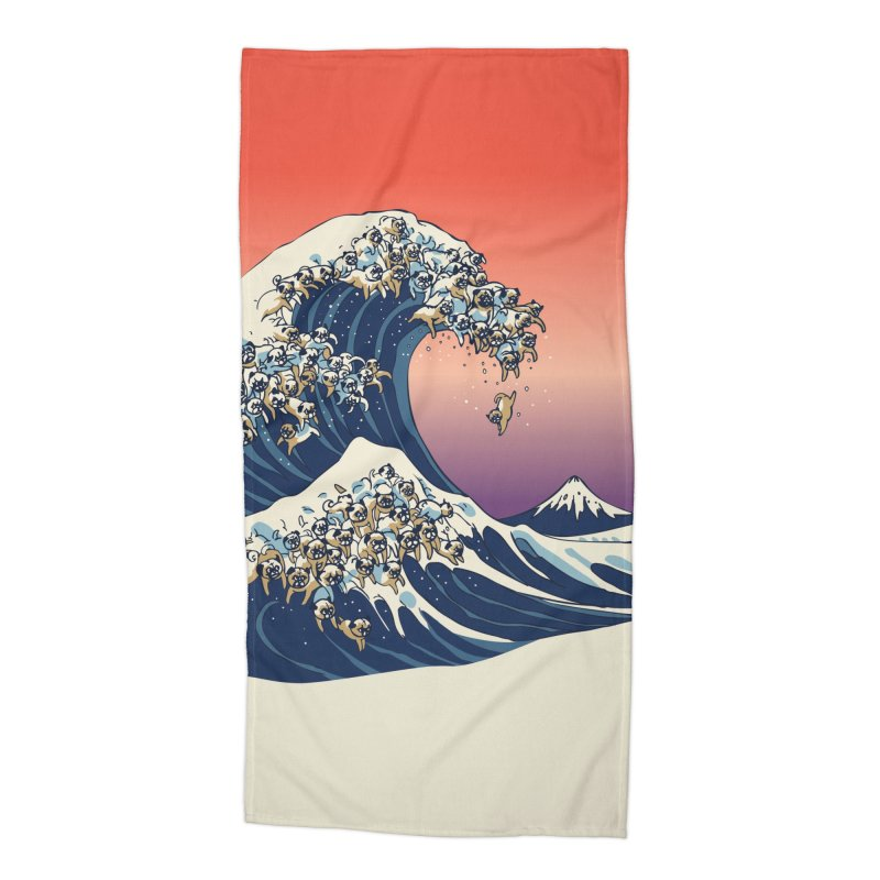 The Great Wave of Pugs Accessories Beach Towel by huebucket's Artist Shop
