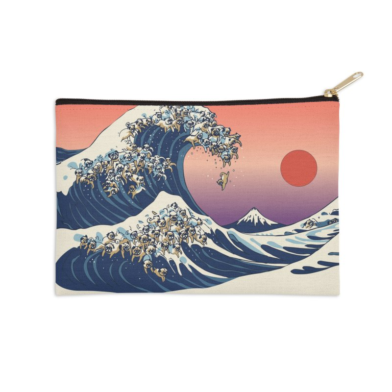 The Great Wave of Pugs Accessories Zip Pouch by huebucket's Artist Shop
