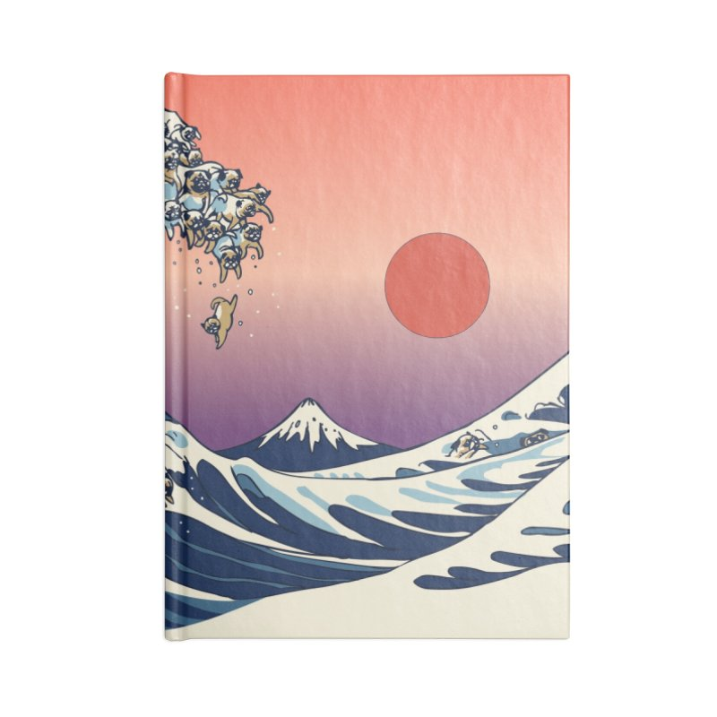 The Great Wave of Pugs Accessories Notebook by huebucket's Artist Shop