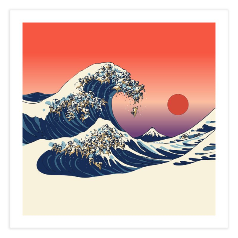 The Great Wave of Pugs Home Fine Art Print by huebucket's Artist Shop