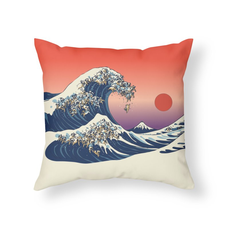 The Great Wave of Pugs Home Throw Pillow by huebucket's Artist Shop