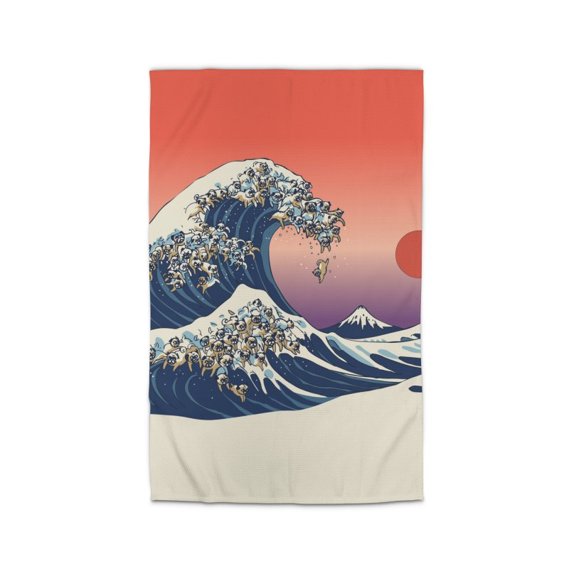 The Great Wave of Pugs Home Rug by huebucket's Artist Shop