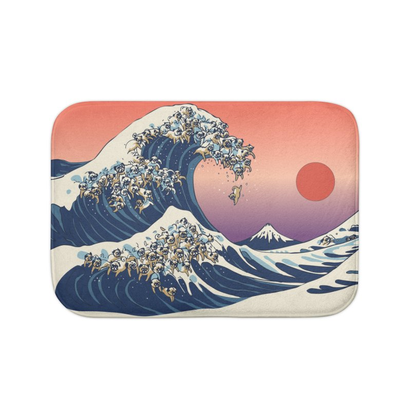 The Great Wave of Pugs Home Bath Mat by huebucket's Artist Shop