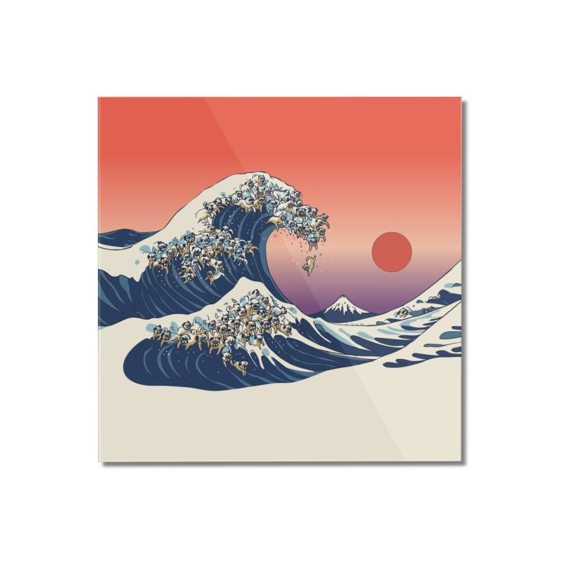 The Great Wave of Pugs Home Mounted Acrylic Print by huebucket's Artist Shop
