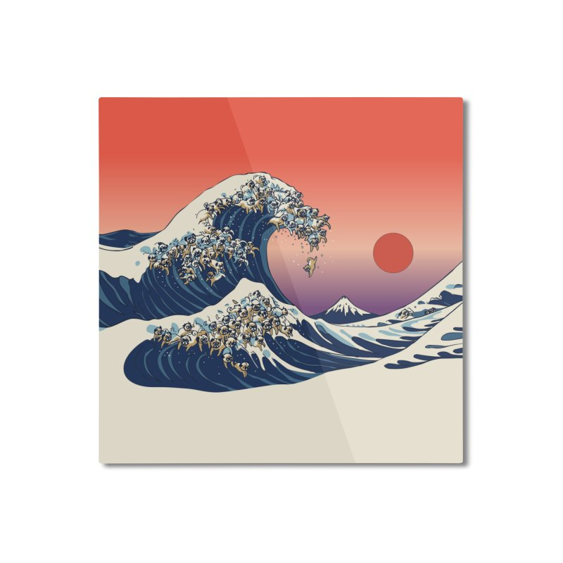 The Great Wave of Pugs Home Mounted Aluminum Print by huebucket's Artist Shop