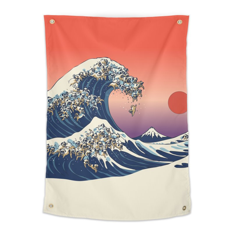 The Great Wave of Pugs Home Tapestry by huebucket's Artist Shop