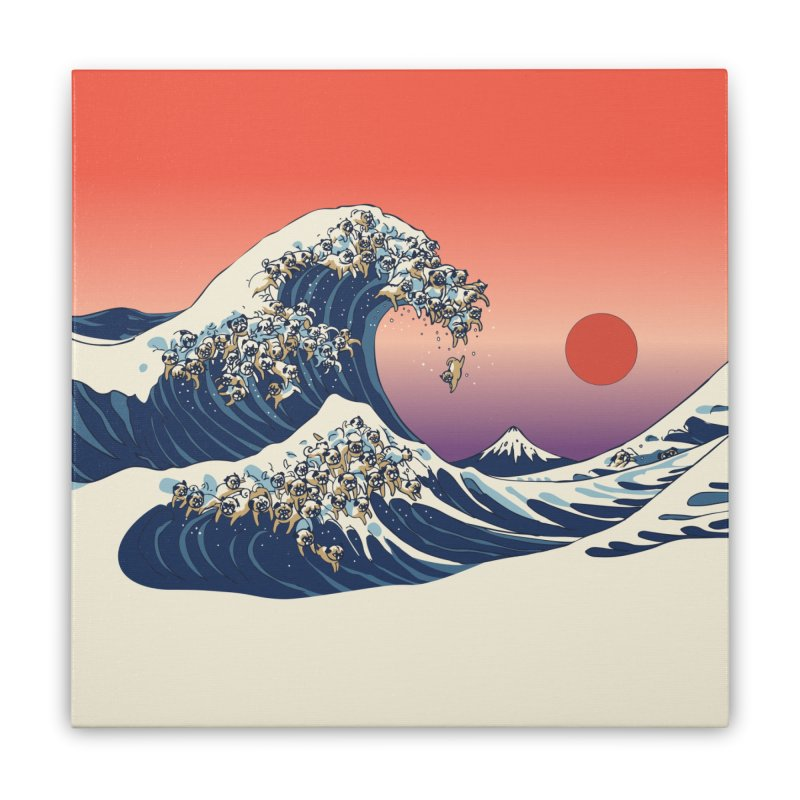 The Great Wave of Pugs Home Stretched Canvas by huebucket's Artist Shop